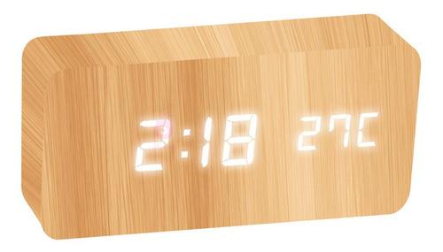 Relógio Led Mesa Despertador Cabeceira De Madeira Promoção