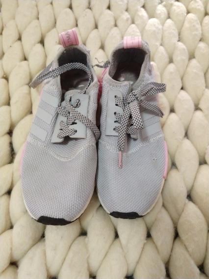 Zapatillas adidas Rosas Y Gris Nena Talle 36 Con Detalle
