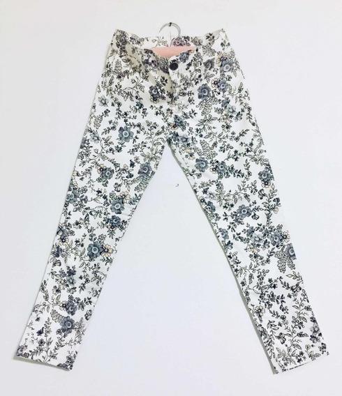 Pantalon Niña T.8 Estampado Blanco Gris. Buen Corte. Devoto