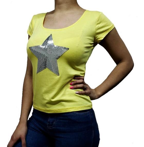 Remera Basica En Viscosa Con Estrella Brillante Lentejuelas