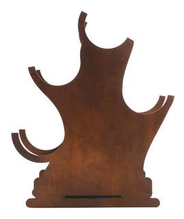 Adega De Madeira P/4 Garrafas Árvore Quatzo 32x14,5x43cm