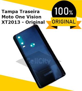 Tampa Traseira Da Bateria Azul Moto One Action Xt2013 Orig.