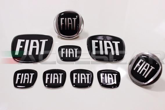 Kit 7 Adesivos Emblemas Fiat Preto Black Piano Novo Uno