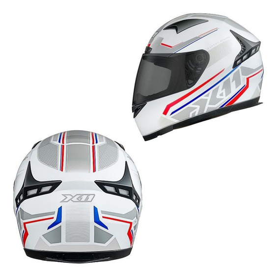 Capacete Motociclista X11 Volt Dash Branco Tricolor Moto 58