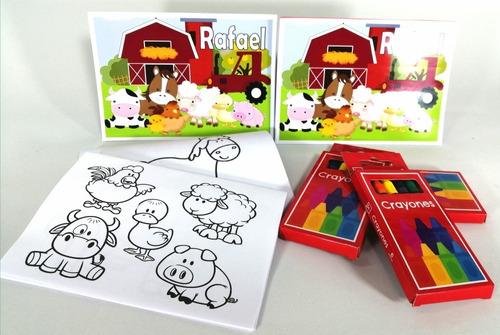 Imagen 1 de 11 de  2 Libritos Para Colorear Personalizados+ 2 Cajas De Crayola