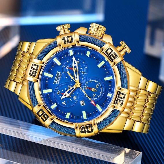 Relógio Masculino Temeite Dourado Promoção