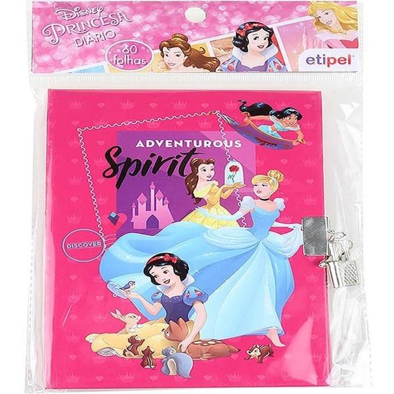Kit 5 Diário Infantil Cadeado Princesas Dyp-122 Disney