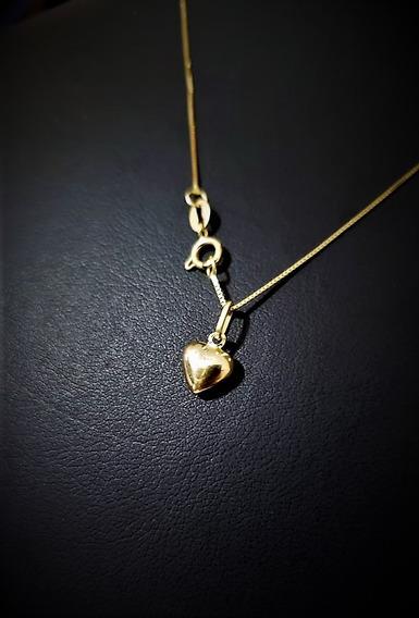Correntinha Em Ouro 18k 40cm Veneziana C/ Pingente