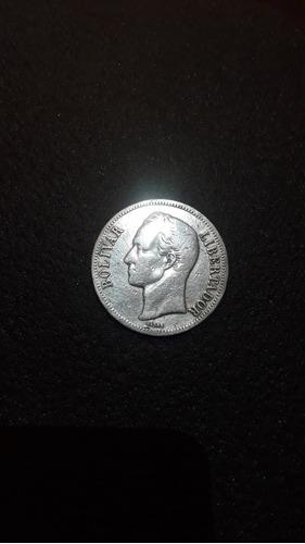 Moneda De Plata De 5 Bolivares Año 1921 25gram Lei 900