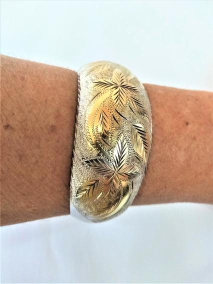 Hermoso Bracelete Prata Com Detalhe Em Ouro