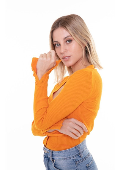 Cardigan Saco Sweater Mujer Botones Negro/gris/naranja