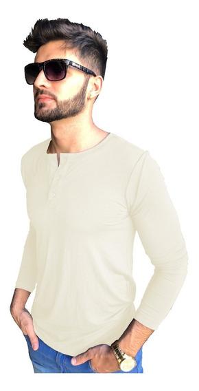 03 Camisas Henley Manga Longa