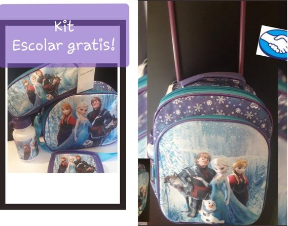 Mochila Con Rueditas Frozen Mas Kit Escolar