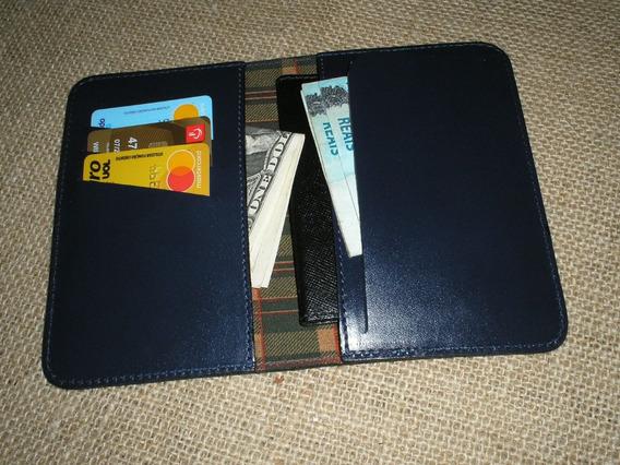 Capa Passaporte 4 Divisórias Na Cor Azul - Couro Legítimo