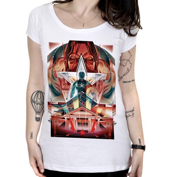 Camiseta Feminina Capitão América - Cromado
