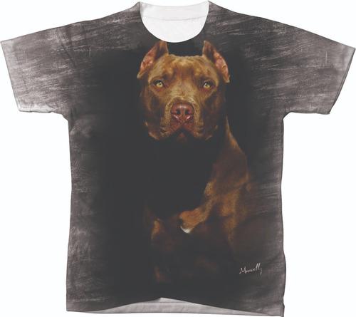 Imagem 1 de 2 de Camiseta Camisa Blusa Personalizada Cachorro Pit Bull 01