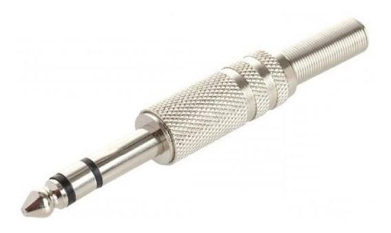 Combo 10 Ficha Plug Estereo 6,5mm Metálica