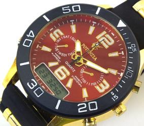 Relógio De Pulso Potenzia Masculino Dourado Com Preto B5670
