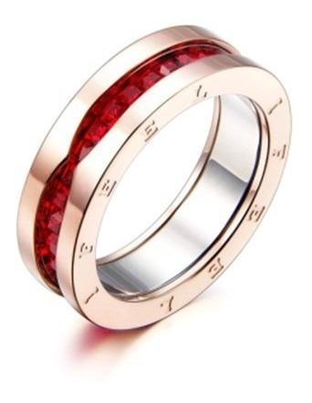 Anillo Dama If Rojo Chapa De Oro 18k Circonio + Envio Gratis