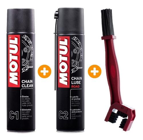 Imagem 1 de 1 de Kit Motul C1 Clean + C2 Lubrificante Corrente 400ml + Escova