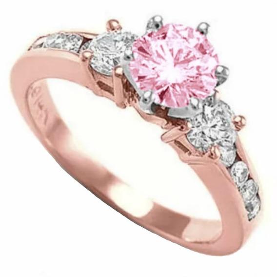 Anillos Compromiso Oro Rosa 14kt Zafiro Rosa Corindon Marloz