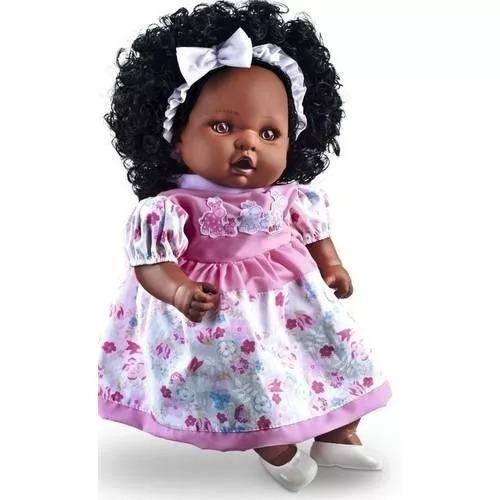Boneca Com Cabelo Angelina Negra 62 Frases Reborn - Milk