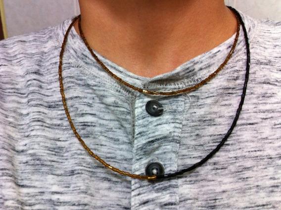 Collar Negro Y Oro Collar Hombre Modelo Maluma