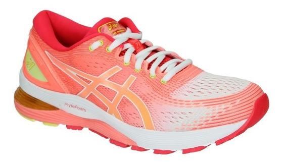 Zapatillas Asics Gel Nimbus 21 Running Mujer Coral-blanco