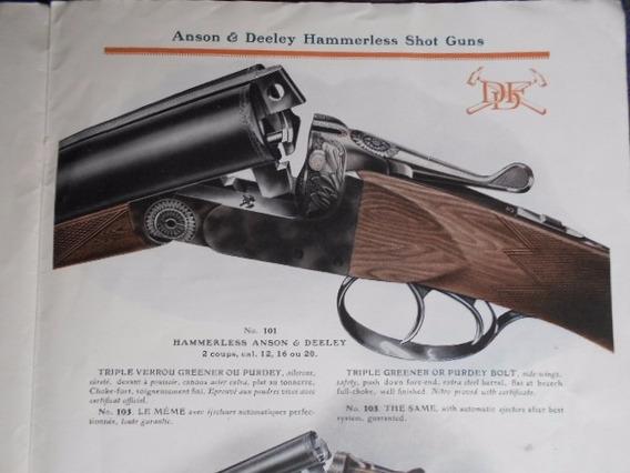 Catálogo Escopetas Fusil Greener Gun Hammerless Anson 1950