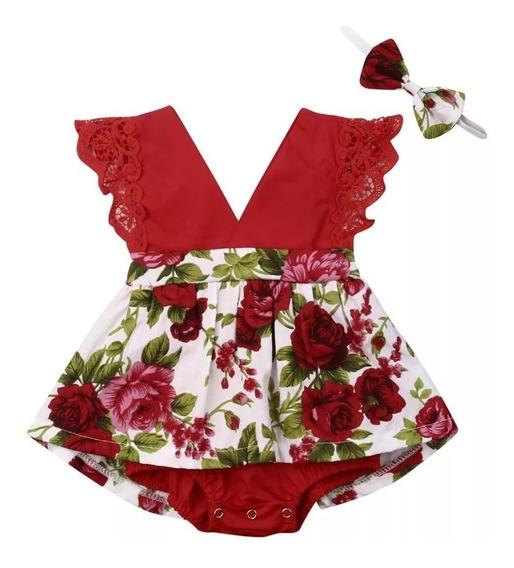 Body Romper Vestido Floral Luxo Festa Baby Vintage + Tiara