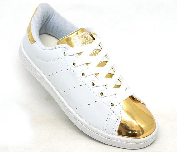 Tênis adidas Stan Smith Branco E Dourado