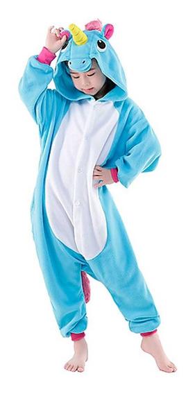 Pijama De Unicórnio Kigurumi Infantil Azul Unissex P/entrega