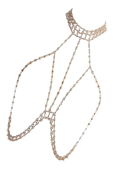 Rhinestone Crossover Body Jewelry Arnés Bikini Gargantilla