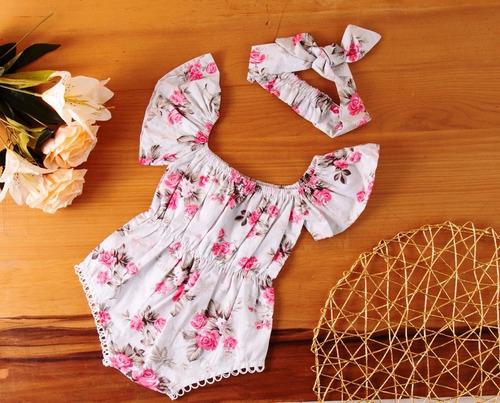 Body Bebê De Menina Infantil Mesversário Floral 100% Algodão