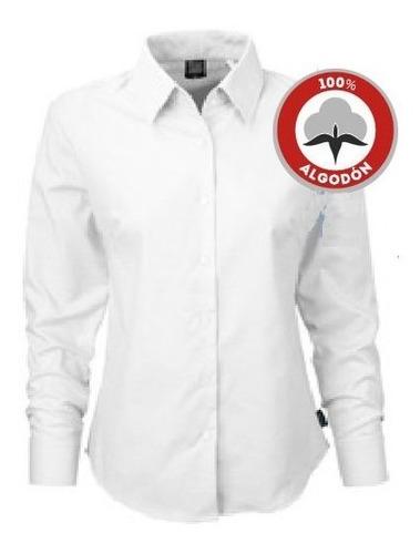 Camisa De Trabajo Oxford Dama Celeste Blanco - Textilshop