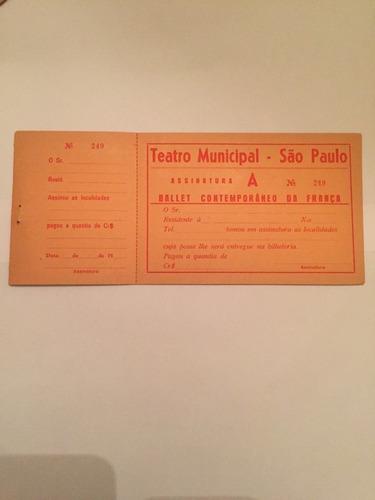 Ingresso / Tiket Teatro Municipal De São Paulo - Anos 1950