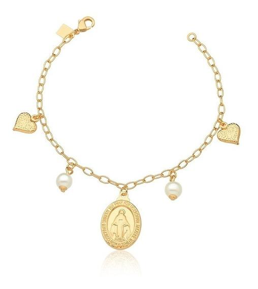 Pulseira Semijoia Premium Ouro18k Corações Medalha Milagrosa