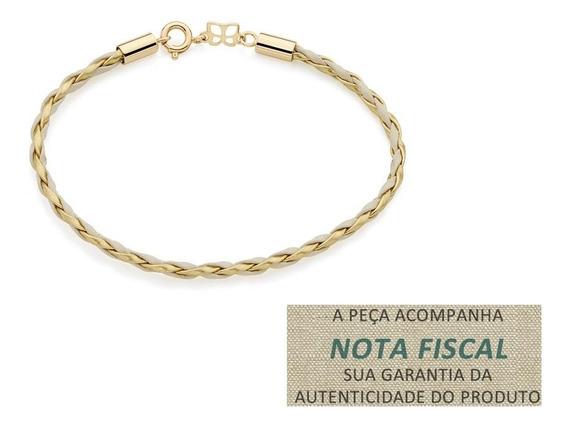 Pulseira Couro Sintetico Trança F Ouro 551310 Rommanel Verme