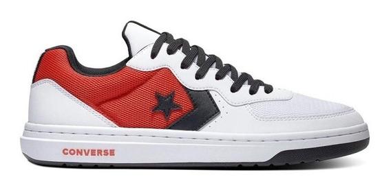 Zapatillas Converse Modelo Rival Blanco Rojo Negro