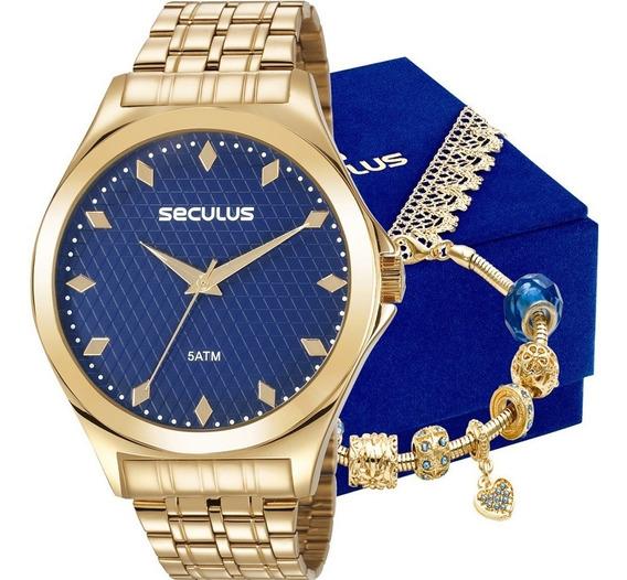 Relógio Seculus Feminino Com Pulseira Berloque 23632lpsvds1k