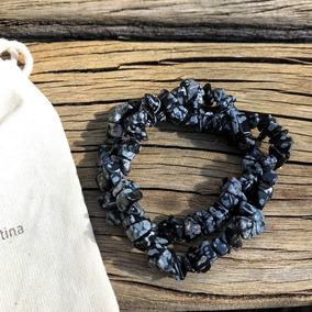 Obsidiana Flocada - 2 Pulseiras Cascalho Pedras Naturais