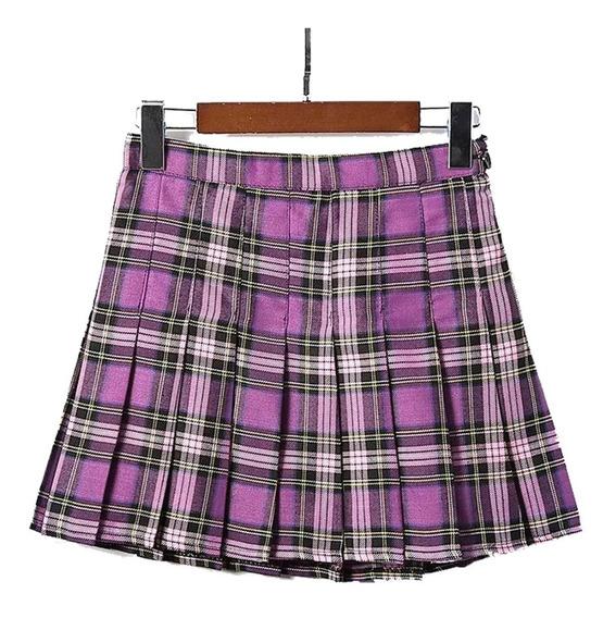 Falda Tableada Morada Estilo Escocesa Moda Asiatica Kawaii