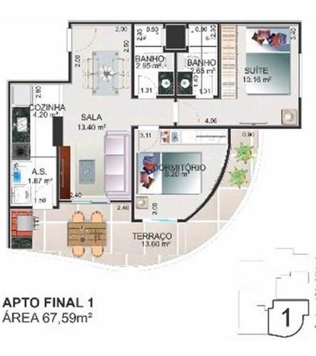 Apartamento, 2 Dorms Com 67 M² - Balneario Maracana - Praia Grande - Ref.: Dna1209 - 24dna1209