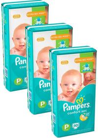 Kit Com 3 Pacotes Fraldas Pampers Confort Sec Atacado Barato