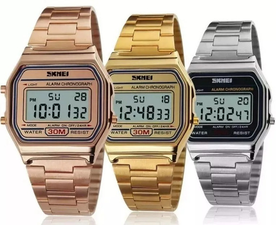 Kit 3 Relógio Skmei Origi Retro 1 Prata + 1 Dourado + 1 Rosé