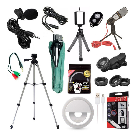 Kit Youtuber Lapela Microfone Mesa Celular Tripé 1,30m + Luz