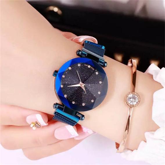 Relógio Feminino Azul Luxo Pulseira Magnética