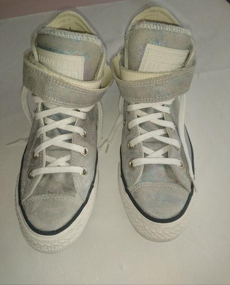 Zapatillas Botitas. De Cuero Converse Plateadas N 36.5