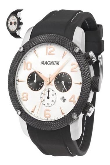 Relógio Magnum Masculino Analógico Silicone Preto Branco Ma3