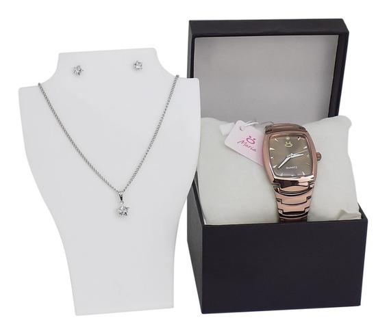 Relógio Colar Brinco Lançamento Fem Dourado Original Rma